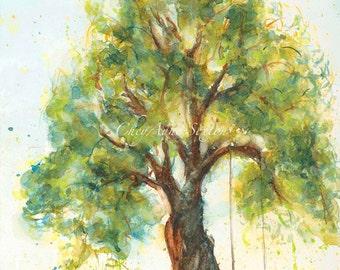 Tree with Swing WaterColour ORIGINAL  art  Big twisted trunk tree art 9x12