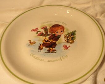 Holiday Christmas Vintage Collectors Plate Little Folks