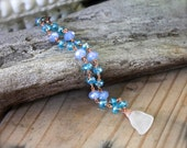 Sea Glass Anklet - Beach Bride Jewelry from Hawaii - Hawaiian Sea Glass Jewelry - Beach Boho Jewelry from Hawaii - Bohemian Gypsy Anklet