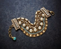 Turquoise Rhinestone Gold Vintage Multi Strand Bracelet Vintage Glass Pearls Vintage Rhinestone Gold Tone Multi Chain Repurposed Jewelry