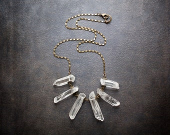 Quartz Crystal Point Statement Necklace with Flattened Brass Scroll Chain