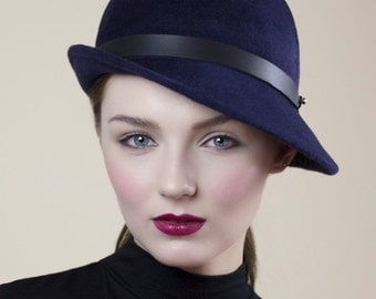 The Oslo Felt Cloche Hat, Small Brim Classic Style Day Hat in Navy Blue.