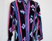 19990's Men's Black Pink Purple Turquoise Southwestern Shirt Wrangler size 16 1/2-34  Large Vintage REtro 90's Line Dancing Native Cowboy