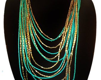Turquoise Gold long Layered Necklace,Layering beaded statement necklace,Bohemian jewelry,Gold bib,Long holiday jewelry,modern by Taneesi