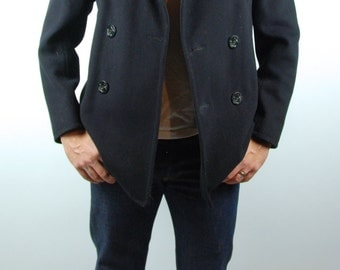 1960's Double Breasted Melton Naval Pea Coat, Size 38, Kersey Peacoat