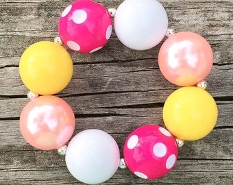 Pink and Yellow Chunky Bracelet, Pink Lemonade Party, Girls Chunky Bracelets, Chunky Necklace, Toddler Bracelet, Lemonade Party Jewelry