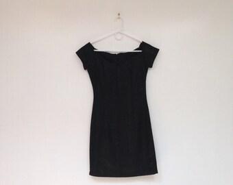 Vintage 1990s Off the Shoulder Floral Print Little Black Mini Dress