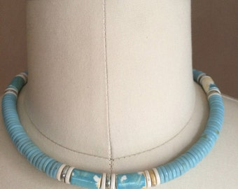 vintage 1980's beaded choker / necklace / turquoise impression / beaded choker