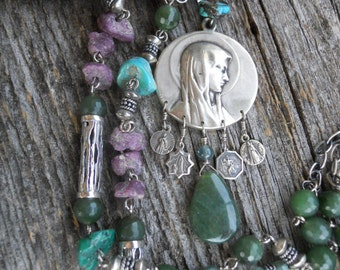 Mary           Antique Our Lady Medal Gemstone Assemblage Necklace