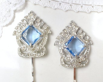 Something Blue Old Hair Clip, Antique Art Deco/Nouveau Bridal Hair Accessory 1920 Vintage Light Sapphire Blue, Silver Gatsby Dress Clip Pin