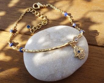 Lapis Lazuli Gold Hamsa Charm Bracelet - Dainty Gold Bar Bracelet - Elegant Blue Hamsa Bracelet
