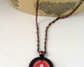 RED FLEUR De Lis Handmade Paris Chic Pendant Necklace
