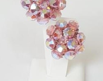 SALE Pink Crystal Earrings Swarovski Beads  Button Style Clip on Vintage Costume Jewelry