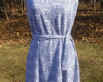 Navy Blue And White Geometric Sleeveless Vintage Dress