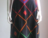 reserved e.v 70s vtg halter graphic dress