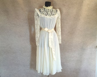 Vintage 80's Lace Dress, Cream Sheer Long Sleeve, Victorian, Prairie Style, Gypsy, Boho, Size XS, Bust 34