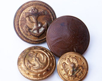 Military Buttons Mismatch Set of Four Army Navy Marines Uniform Accessories