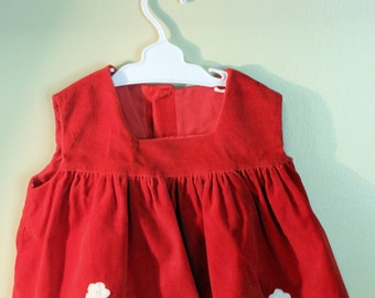 Vintage Baby Dress Jumper Red Velveteen White Applique Flowers Holiday Apparel Photo Shoot