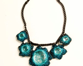 Blue Wire Necklace 5 Clusters