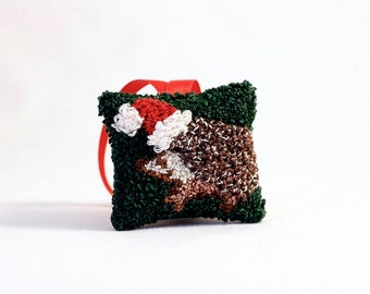 Hedgehog in a Santa Hat Christmas Ornament. Punchneedle Holiday Home Decor. Red, Green, and White. Balsam Fir and Eucalyptus Sachet.