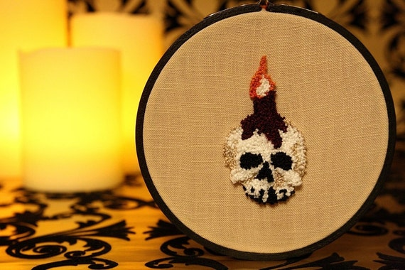 Halloween Decor. Glow in the Dark Spooky Skull and Candle. Punch Needle Embroidery Hoop Art. Autumn Decoration. Dark Red, White, Black