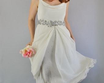 Vintage 90s Women's Cream Spring Summer Art Deco Boho Rhinestone Embroidered Slip Chiffon Short Sleeveless Wedding Dress