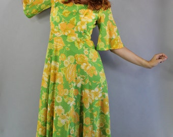 FREE SHIPPING 70s Women's Dress, Tiki Party, Hippie Wedding Dress, Wedding Guest Dress, Hawaiian Dress, Festival Dress, Size Medium