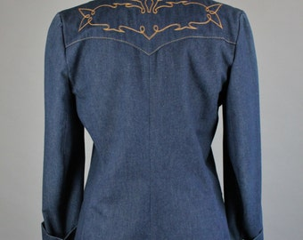 Western Denim Jacket, Dark Blue Denim Leather Collar, Western Design Southwest Fall Blazer Jacket, Womens's Size Medium, FREE SHIPPING