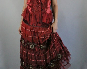 Vintage 90s does 70s Burgundy Crushed Velvet Beaded Stevie Nicks Gypsy Fall Hippie Boho Bohemian Dress Set