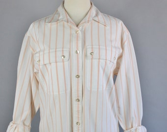 Vintage 80s Women's Peach White Stripes Spring Summer Cotton Wear to Work Preppy Long Sleeve Button Down Shirt, Size Large