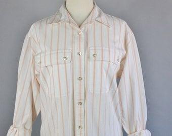 Vintage 80s Women's Peach White Stripes Spring Summer Cotton Wear to Work Preppy Long Sleeve Button Down Shirt