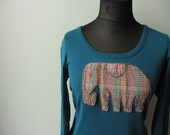Elephant T Shirt, Upcycled Tshirt, Elephant Tee, Boho T Shirt, Safari Tshirt, Animal T-Shirt, Long Sleeve T Shirt, Animal Tops, Elephant Top