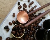 Solid Brass, Nickel Silver or Copper and Walnut Coffee Scoop. Hand formed Pour over Coffee Scoop. Coffee Lover's gift.