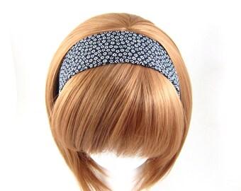 Fabric Headband, Black and White, Daisies