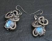 Rainbow Moonstone Earrings, Silver Moostone Earrings, Vintage Inspired, Bridal Earrings, Wire Wrap Earrings, Gemstone Earrings