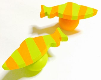 FISH CABINET KNOBS Hardware Dresser Drawer Pulls Fish Shape Bright Orange and Chartreuse