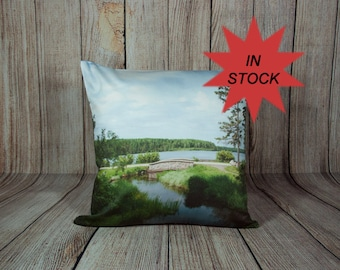 Green Pillow Cover,  Nature Photo Cushion Case, Decorative Throw for Couch, Living Room Decor, Cottage Sofa Accent, Resort Lounge Chair
