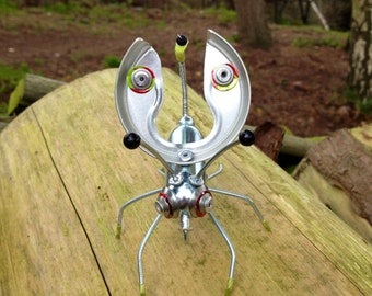 Tin Bug, Nozbug, Small Metal Creature, with Wire, Beads, and Rivets, Recycled Metal Bug, for The Garden or Home, Unusual Eco Gift