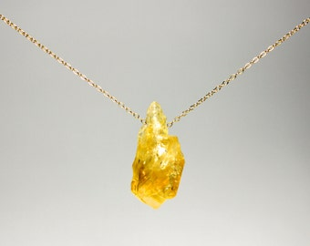 Fortuna Citrine Necklace - raw citrine lucky gemstone on gold fill or sterling silver chain