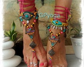 RESERVED for Adeline. COLORFUL Tribal Triangle BAREFOOT Sandals Ankle wrap sandal crochet Gypsy Sandals Hot Pink Barefoot Wedding GPyoga