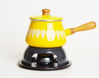 Vintage 60s 70s Cathrineholm Style Lotus Yellow & White Enamel Fondue Pot Wood Handle