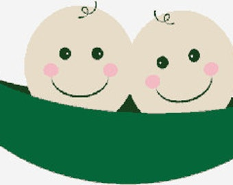 Two peas in a pod digital embroidery design, Two peas in a pod digitized embroidery design