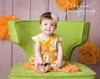 Fleurology- M2M Little Boats Spring 2016 lavender and orange rosette ruffle and lace headband