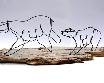 Bear and Cubs Wire Sculpture, Bear Art, Minimal Sculpture, 466279610