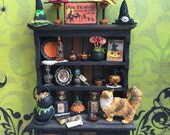 Dollhouse miniature Halloween witch hat cabinet with cat layaway available