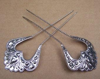 Silver tone metal pair Balinese decorative combs hair pick hair pin hair fork hair jewelry tribal fusion headdress (ACU)