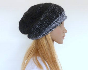 Black knit hat Slouchy Beanie Black Womens hat