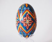 Blue and Red Pysanka, goose egg shell hollow and hand painted, Easter basket decorations, Good Friday, Easter Sunday Easter weekend, eggs