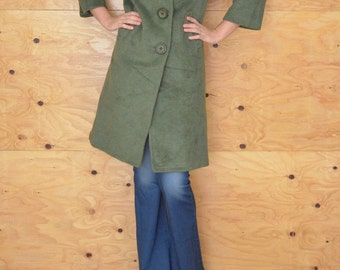 Vintage Stunning 50's Sage Green Car Coat/ Jacket Wool With Velvet Collar Size S/M