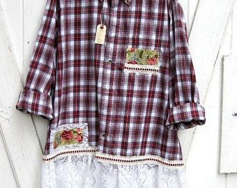 3X Plus size upcycled red plaid shirt, funky boho tunic, prairie chic plaid shirt, boho shirt, artsy tunic by Lily Whitepad